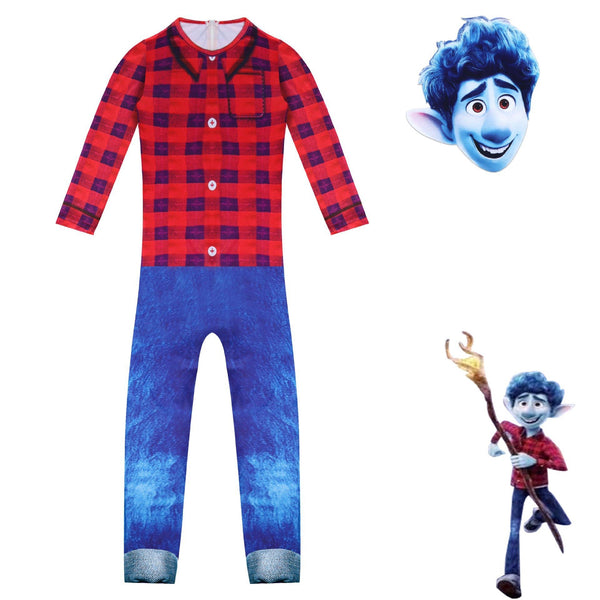 Onward Red Plaid Jumpsuit Cosplay Costume for Kids Boys Halloween