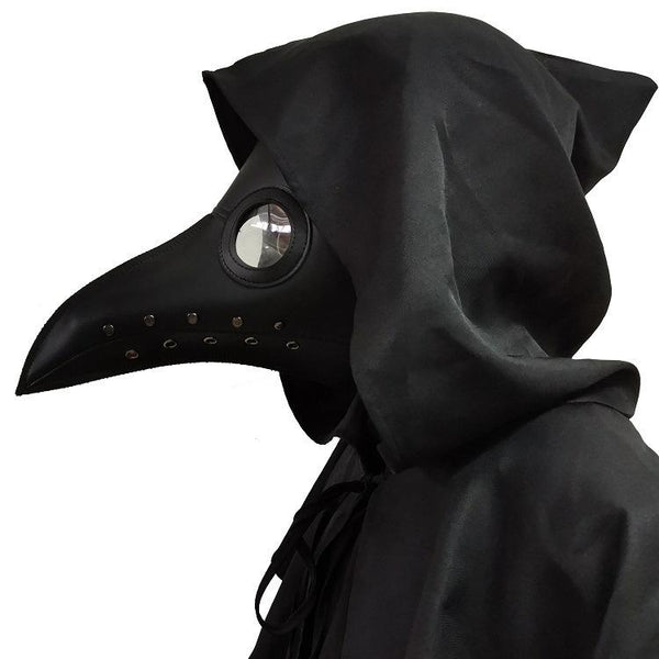 Plague Doctor Cloak Hooded Poncho Cosplay Beak Headgear for Halloween Party
