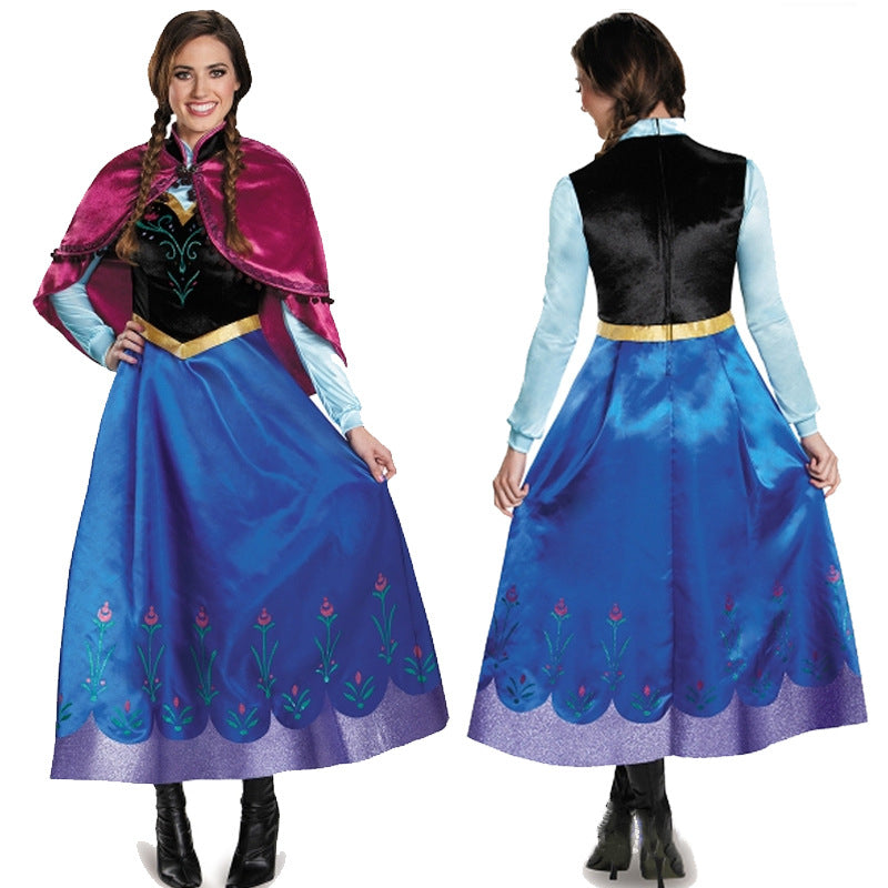 Princess Anna Costume Frozen Dress with Cape Halloween Costume Party Dress