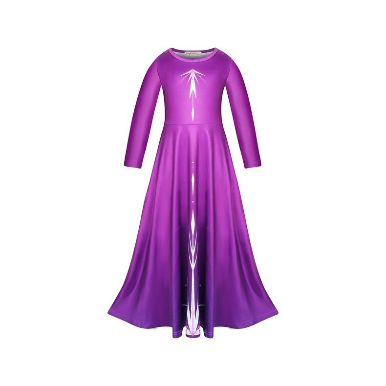 Princess Elsa Dress Purple Night Dress Long Sleeve for Girl