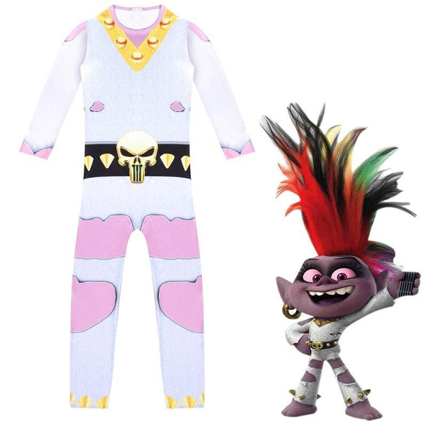 Trolls World Tour Jumpsuit Cosplay Costume for Kids Boys Girls Halloween