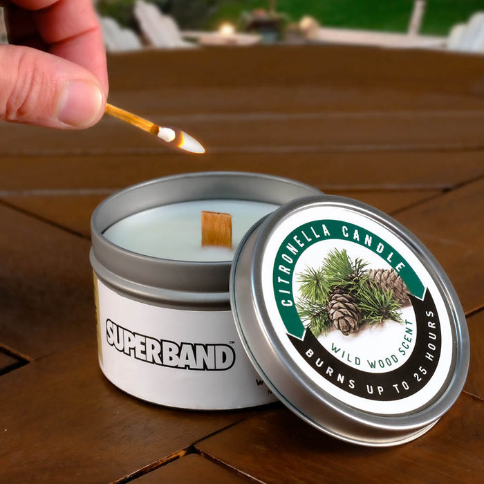 Superband® Citronella Candle Wild Wood Scent for Indoor/Outdoor