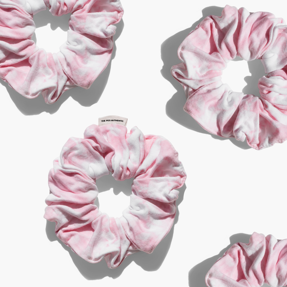 The Peg Authentic x Loose Threads Co. Tie Dye Scrunchie (Rose Quartz)