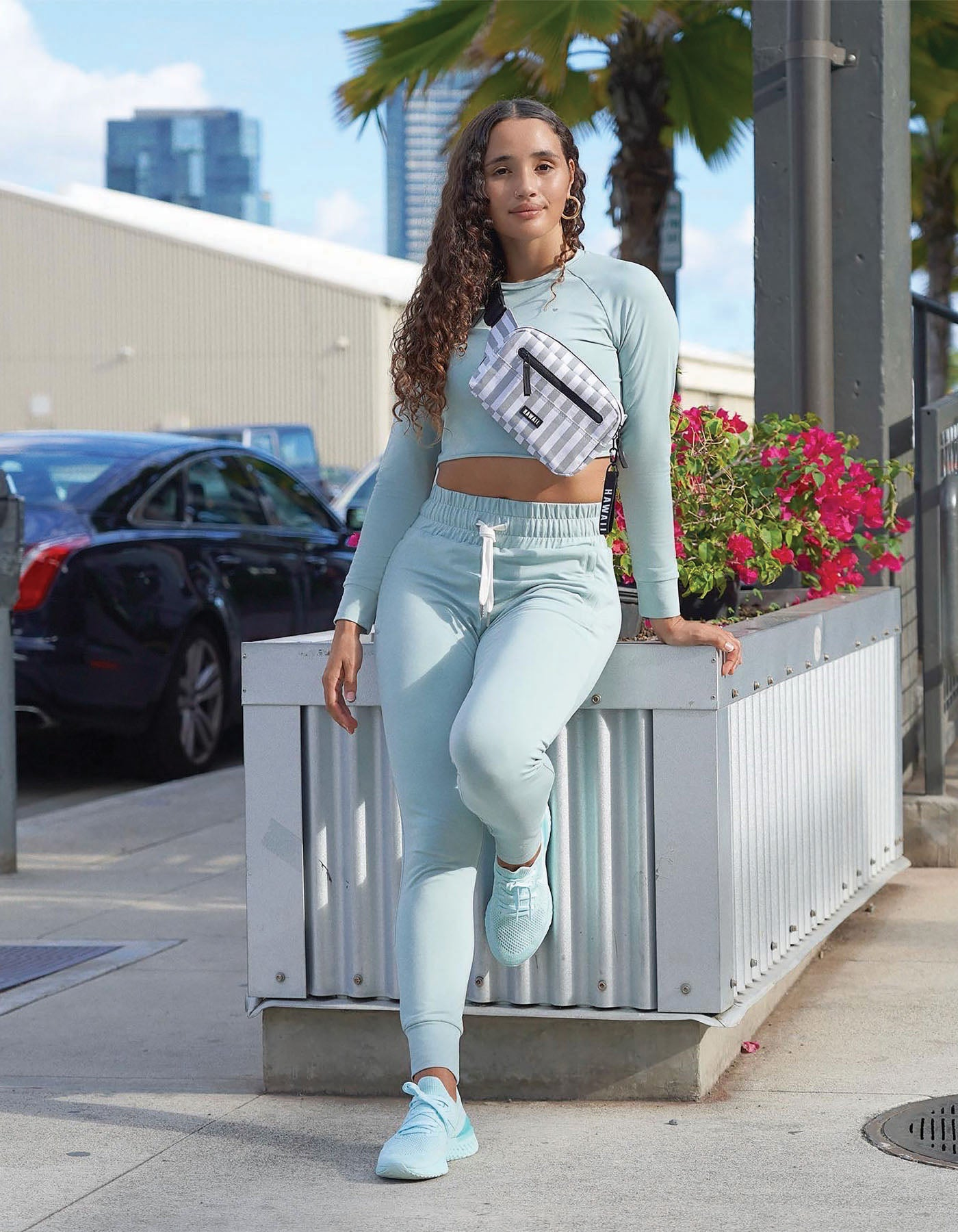 joggers fanny packs love fitness dusty blue activewear Hawaii