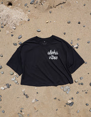 Aloha Vibes - Black Oversized Crop