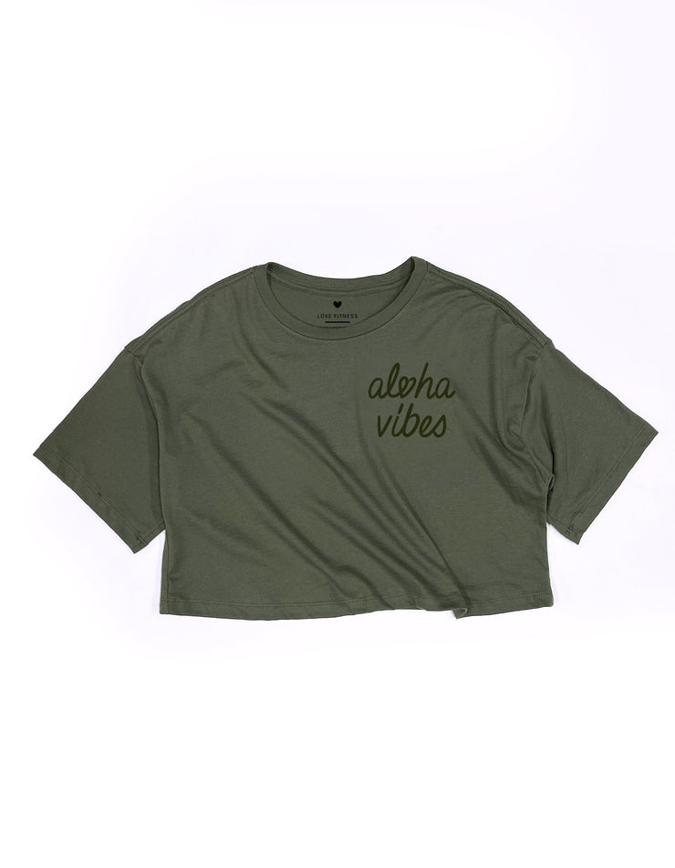 Aloha Vibes - Olive Green Oversized Crop