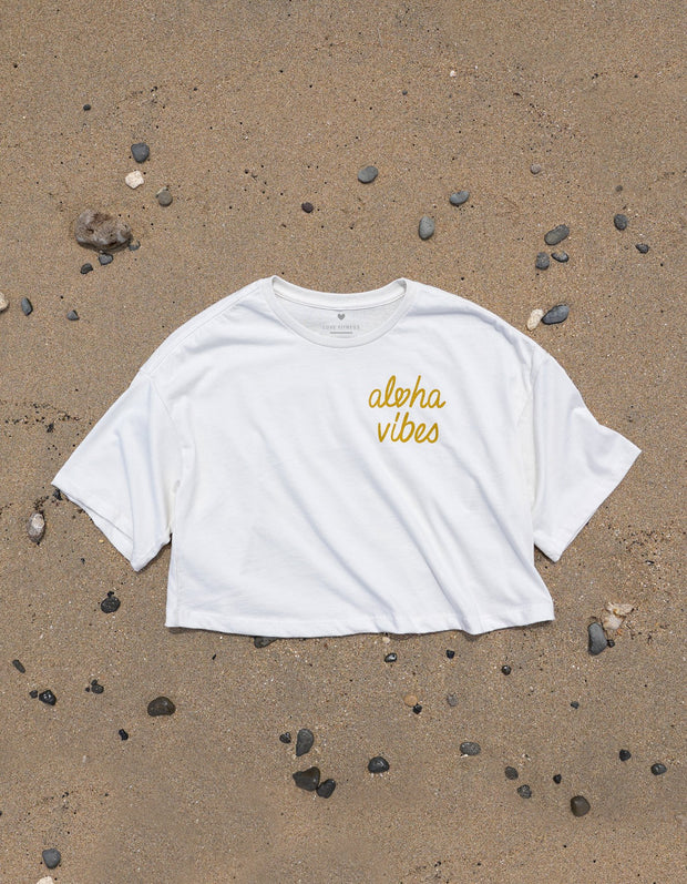Aloha Vibes - White Oversized Crop