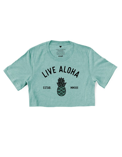 Aloha Pineapple - Prism Dusty Blue Cropped Tee