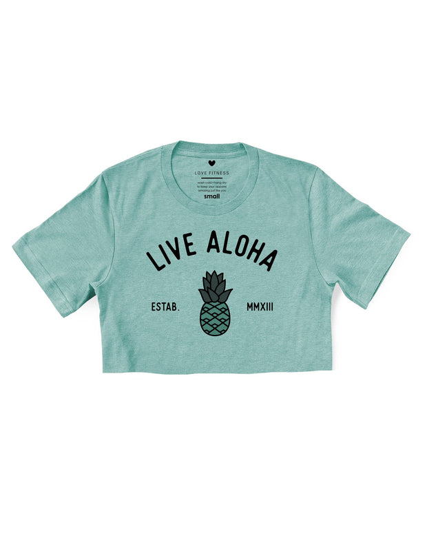 Live Aloha - Prism Dusty Blue Cropped Tee