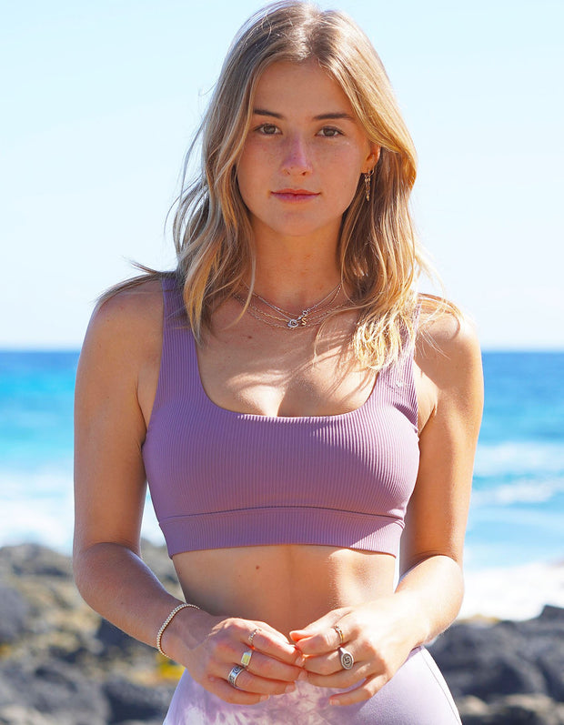 Moana Ribbed Sports Bra - Dusty Plumeria