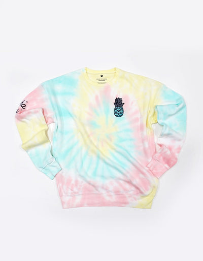 Teal Pineapple Logo - Tie Dye Sweatshirt