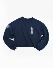 Pineapple Logo Crop Sweatshirt - Navy