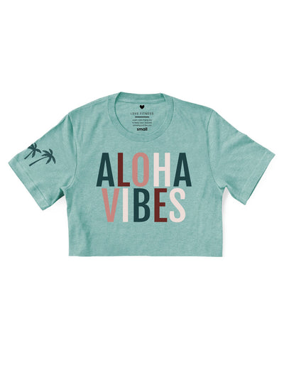 Rustic Aloha Vibes - Prism Dusty Blue Cropped Tee