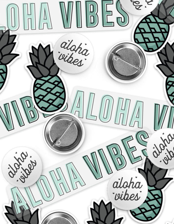 Teal Aloha Vibes Sticker & Button Pack
