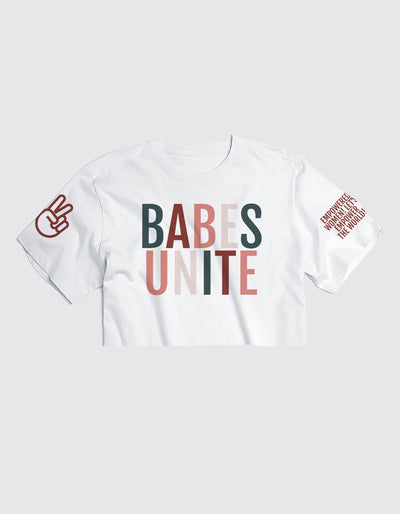Limited Edition Babes Unite - White Cropped Tee