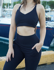 Fierce & Cozy Ribbed Sports Bra - Midnight Navy