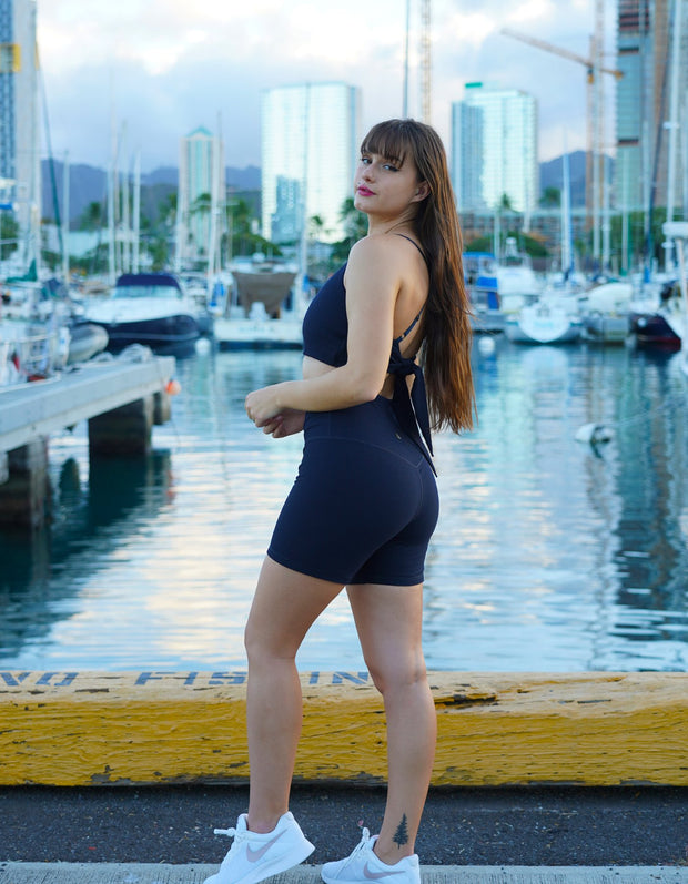 Fierce & Cozy Ribbed Shorts - Midnight Navy