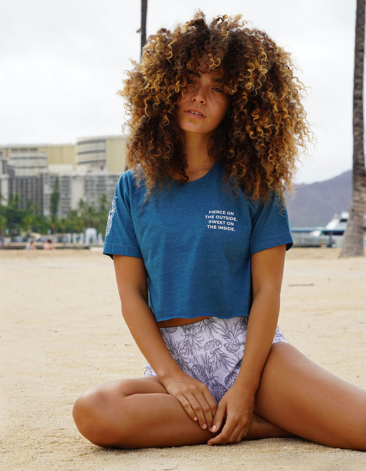 Fierce & Sweet - Triblend Teal Cropped Tee
