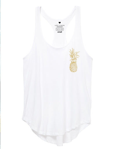 Honey Pineapple Logo Tank Top - White