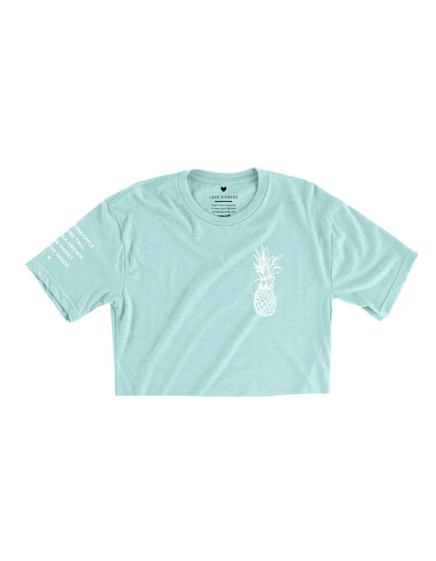 Pineapple Logo - Dusty Blue Cropped Tee
