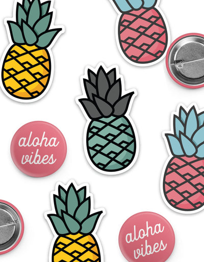 Pink Aloha Vibes Button & Sticker Pack