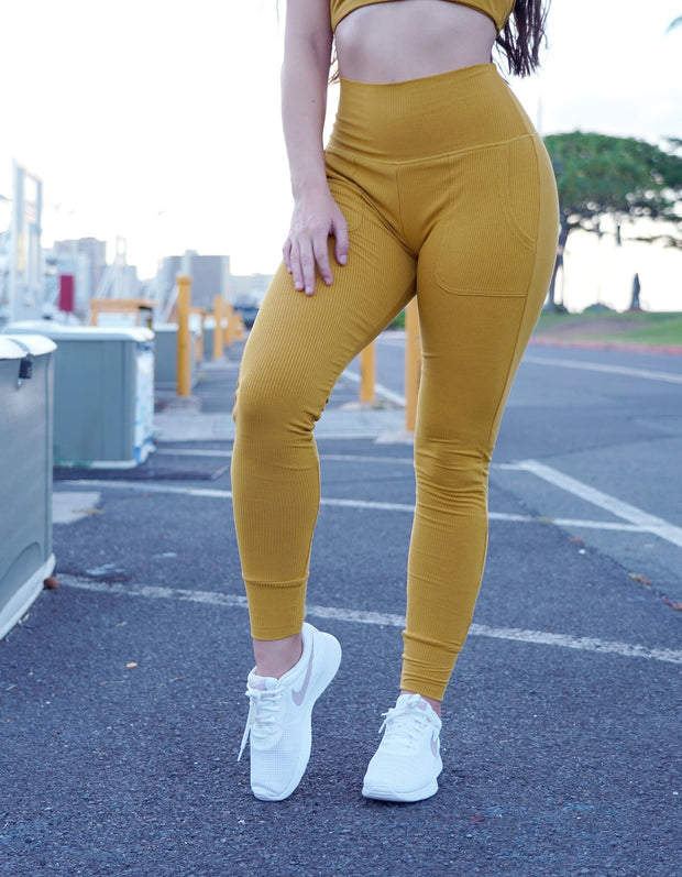 Sweet & Cozy Ribbed Joggers - Honey