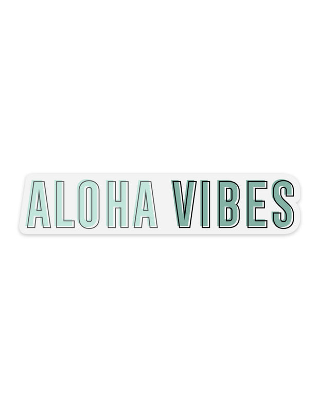 Teal Aloha Vibes Outline - Sticker
