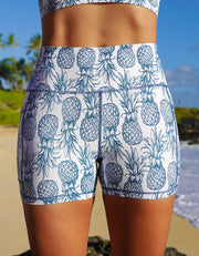 Teal Pineapple Pocket Shorts