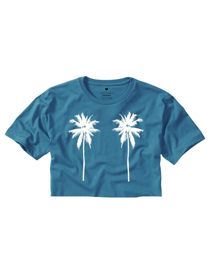 Tropical Palm Trees - Deep Teal Cropped Tee