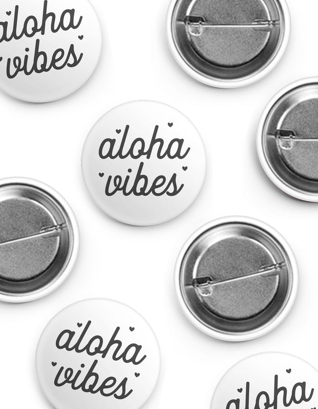 White Aloha Vibes Button