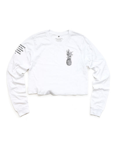 Pineapple Logo - White Cropped Long Sleeve