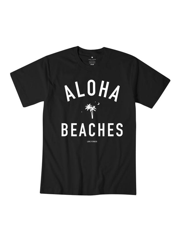 Love Fitness Apparel Aloha beaches palm tree black t-shirt hawaii