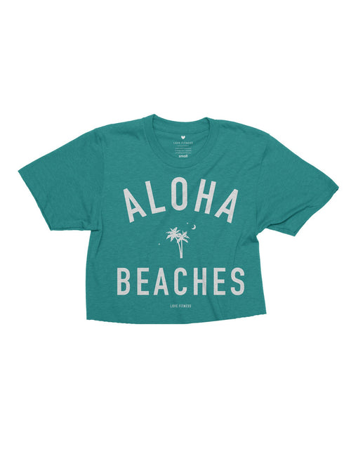 Love Fitness Apparel Aloha beaches palm tree teal crop top t-shirt hawaii