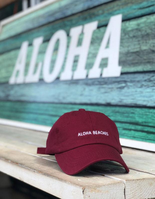 Love Fitness Apparel Aloha Beaches dad hat maroon snapback hawaii