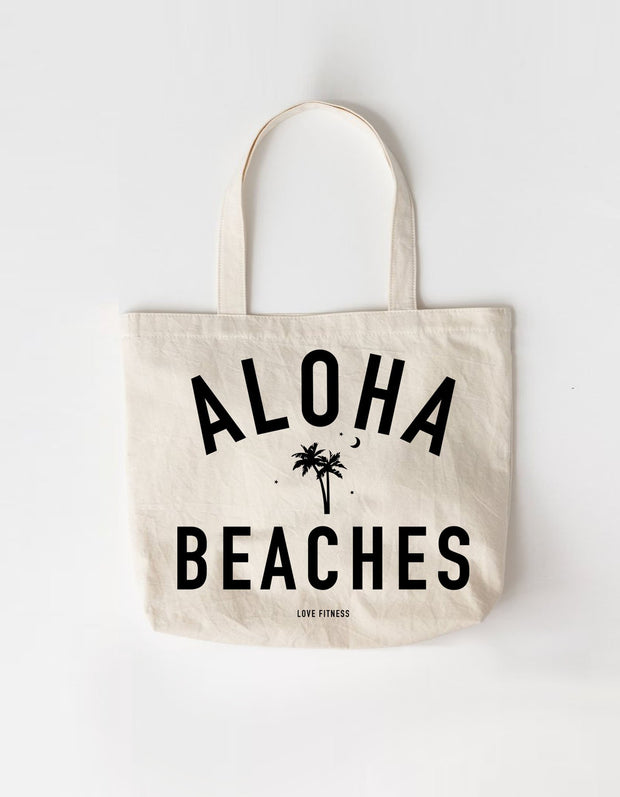 Love Fitness Apparel Aloha beaches palm tree large canvas tote bag hawaii
