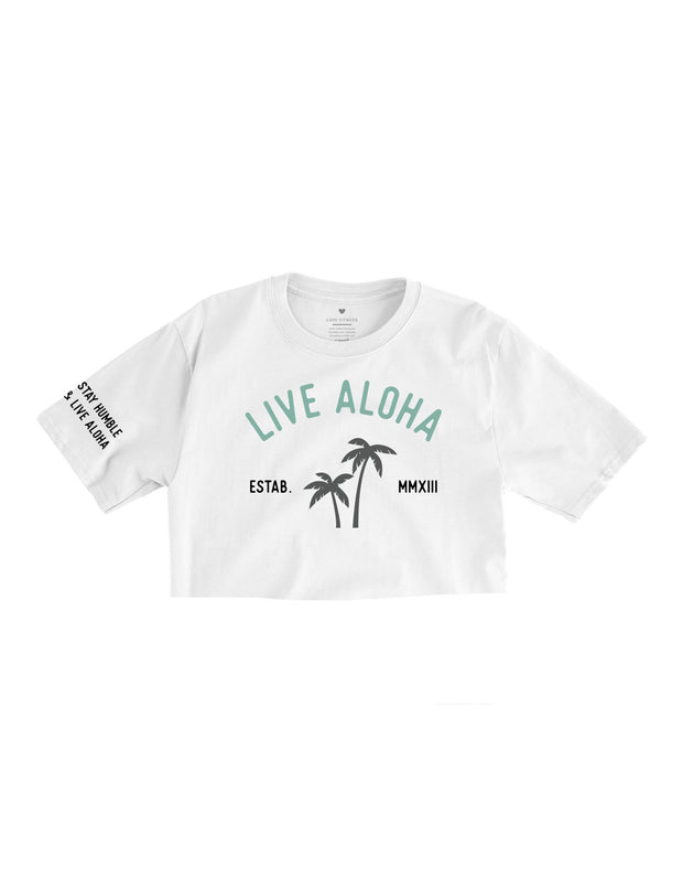 Aloha Palms Crop Tee - White