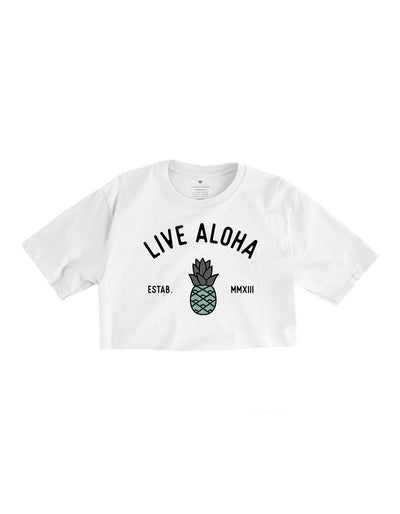 Aloha Pineapple Crop Tee - White