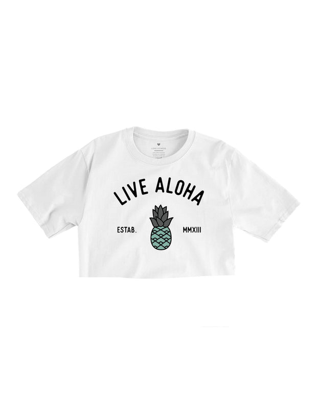 Aloha Pineapple - White Cropped Tee
