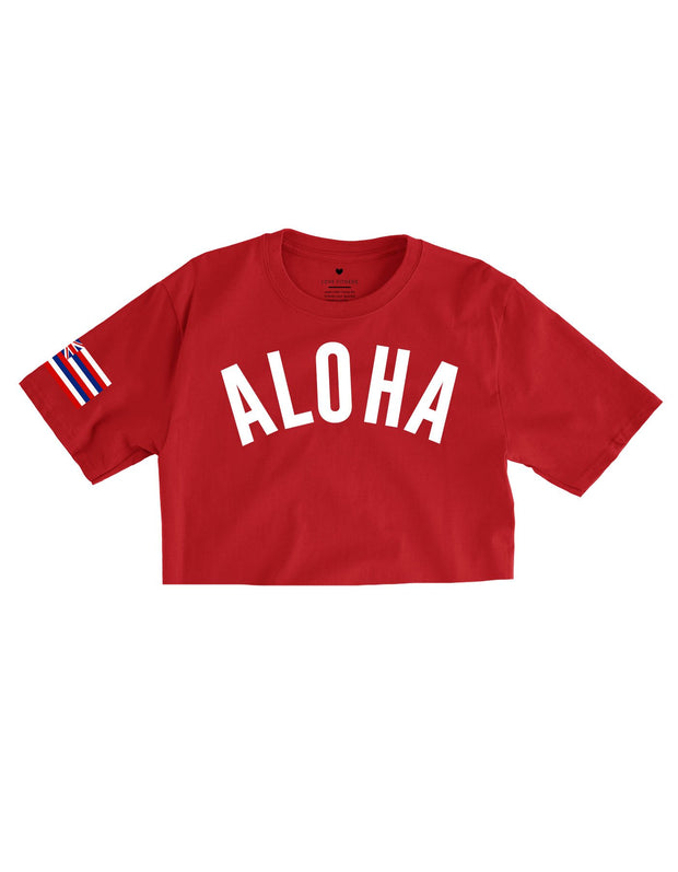 Aloha Victory - Red Cropped Tee