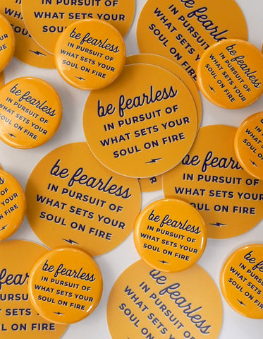 Be Fearless Retro Sticker & Button Set