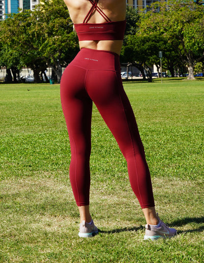 love fitness luxe dark red leggings tights