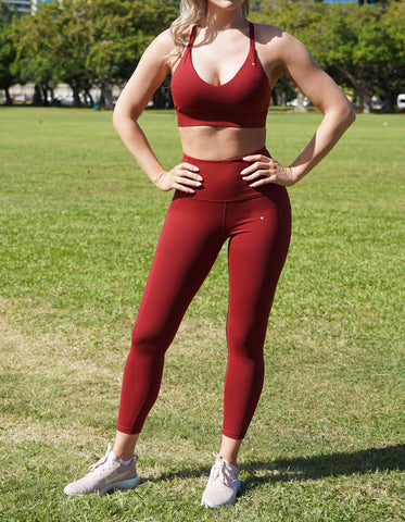 Rebel Sports Bra - Dark Red
