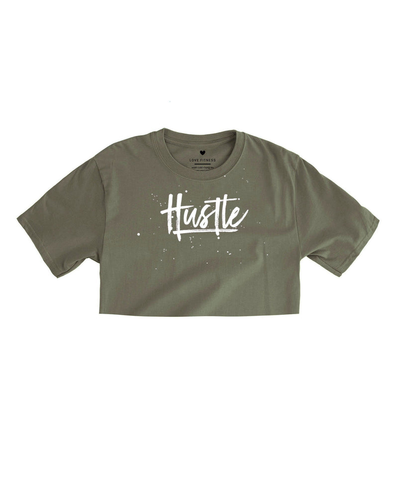 Love Fitness Olive Green Military green hustle crop top cropped tshirt