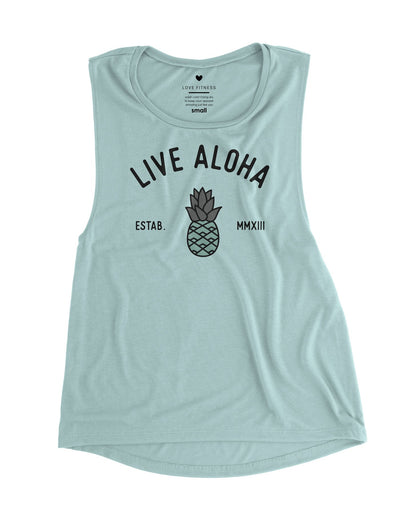 Aloha Pineapple - Dusty Blue Muscle Tank