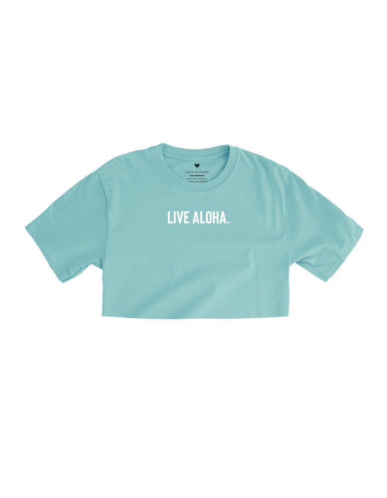 Live Aloha. Crop Top - Dusty Blue