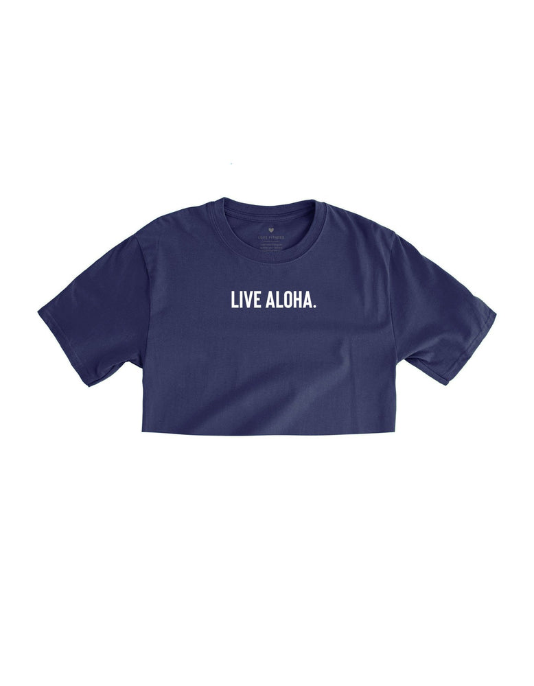 Live Aloha. Crop Top - Navy Blue