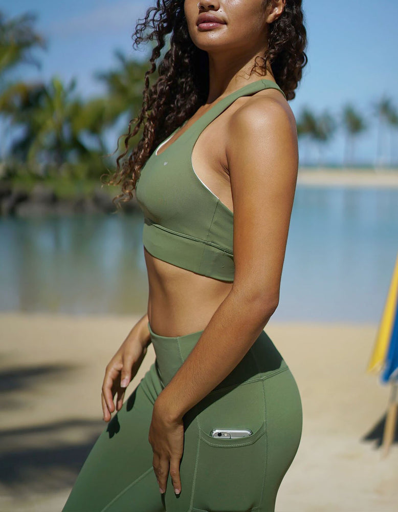 Luxe II - Olive Green Sports Bra