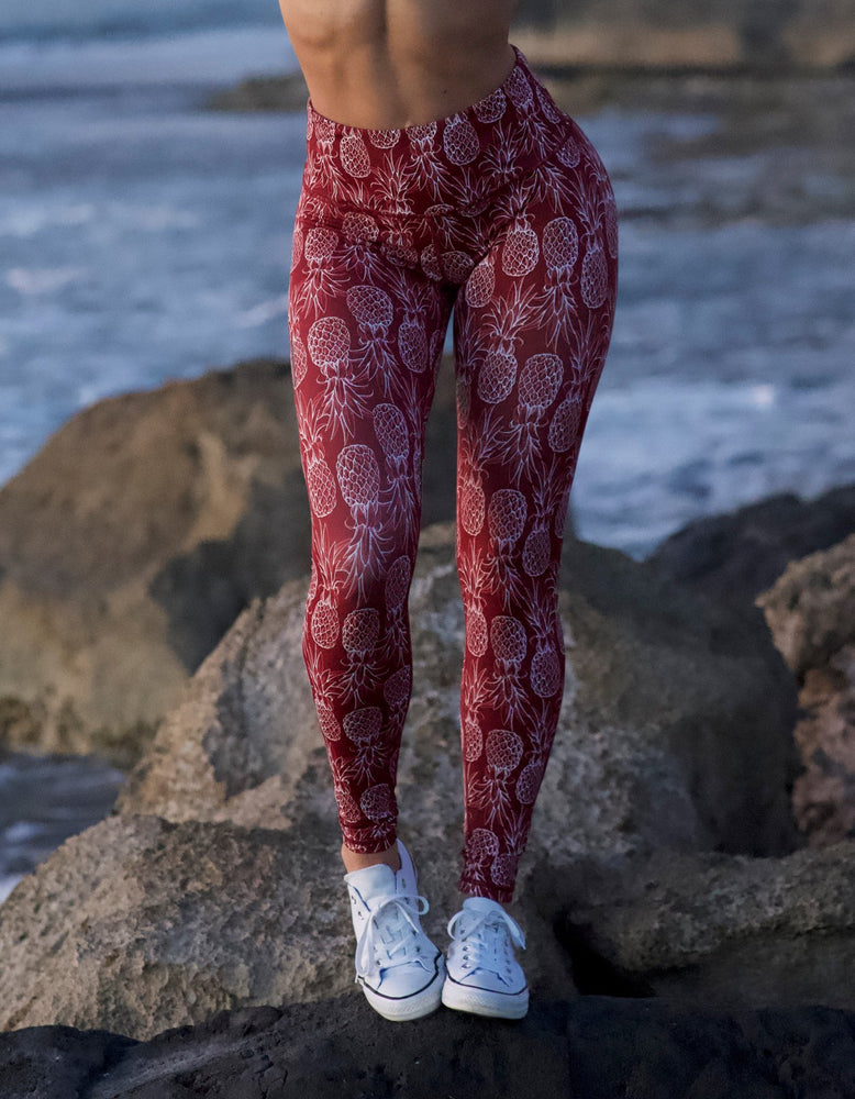 Dark Red Pineapple Leggings