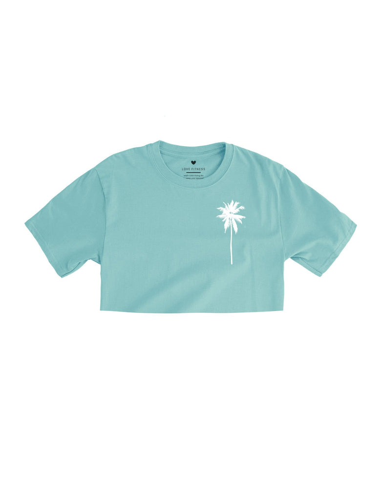 Love Fitness Apparel Palm tree logo crop top dusty blue