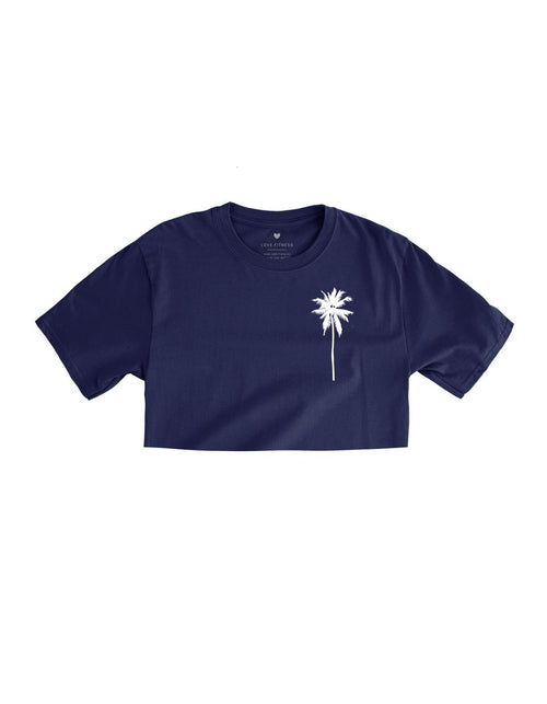 Love Fitness Apparel Palm tree logo crop top navy blue
